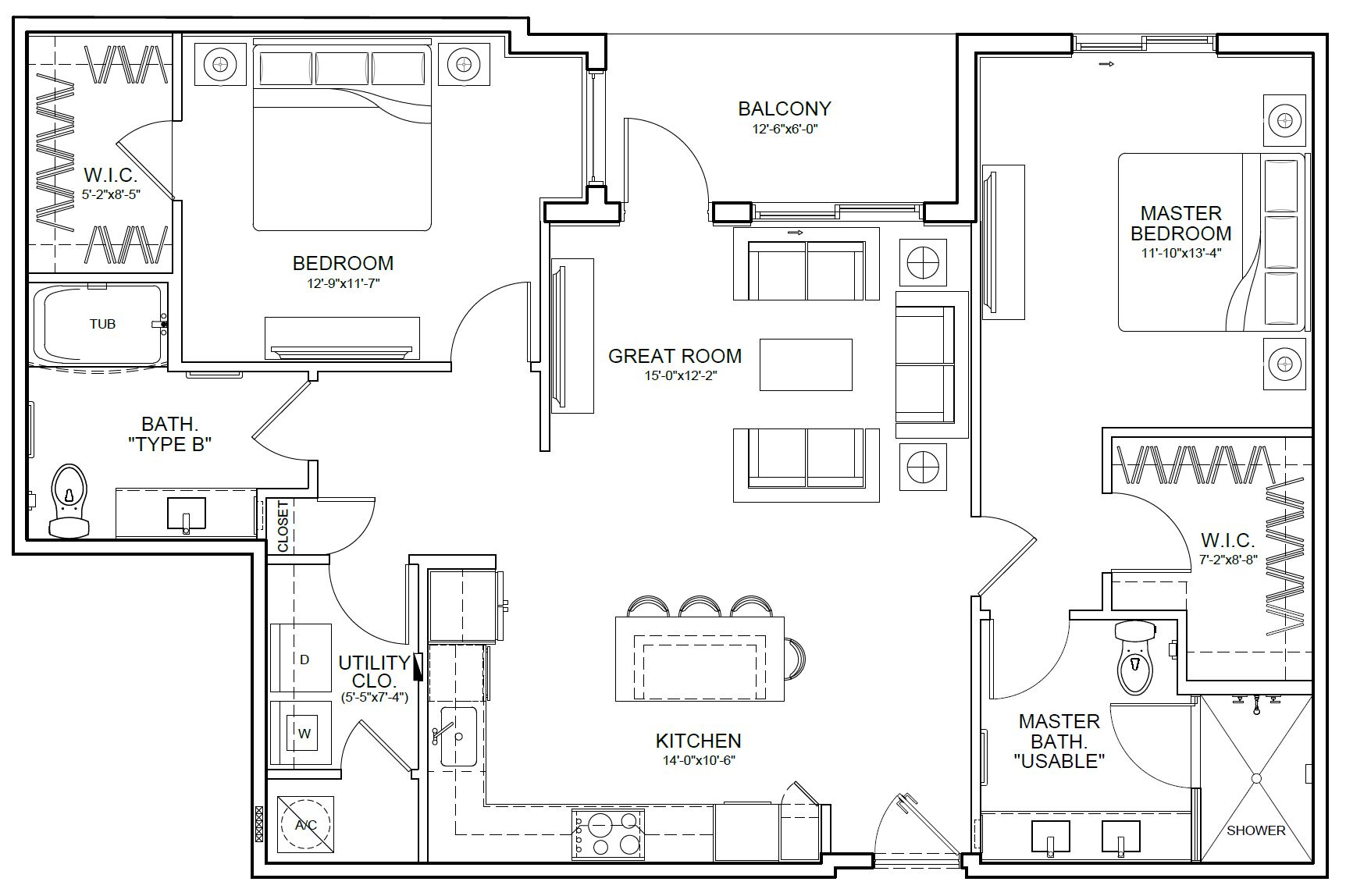 Farmington Senior Apartment Floor Plan at Wellington Bay